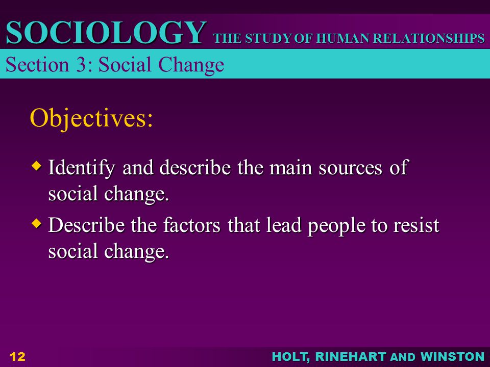 Objectives: Section 3: Social Change