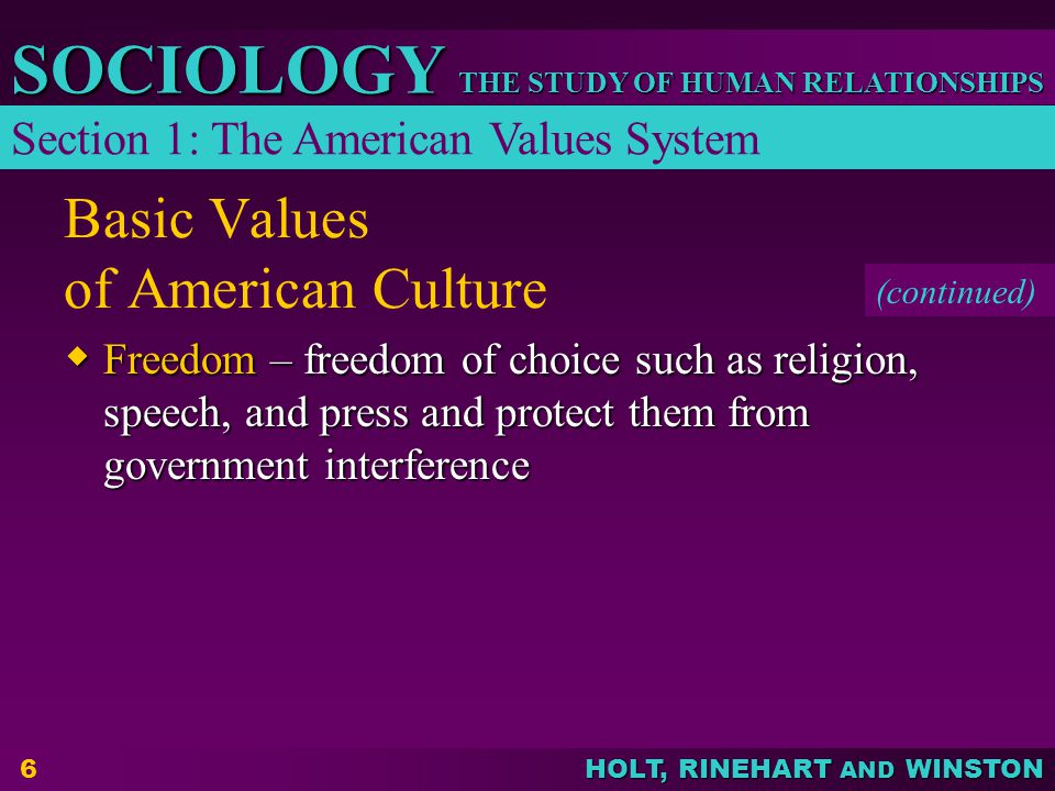 Basic Values of American Culture