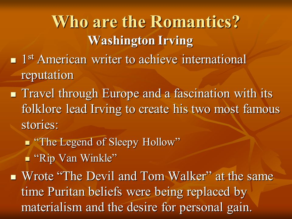 Who are the Romantics Washington Irving