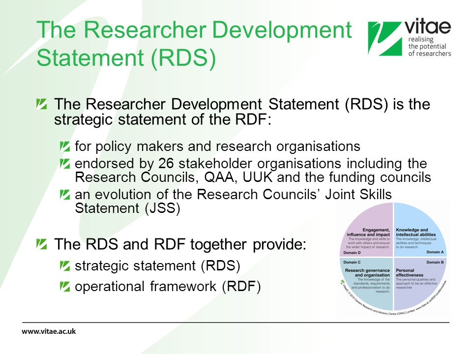 The Researcher Development Statement (RDS)