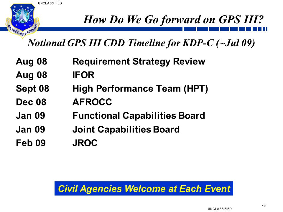 Notional GPS III CDD Timeline for KDP-C (~Jul 09)