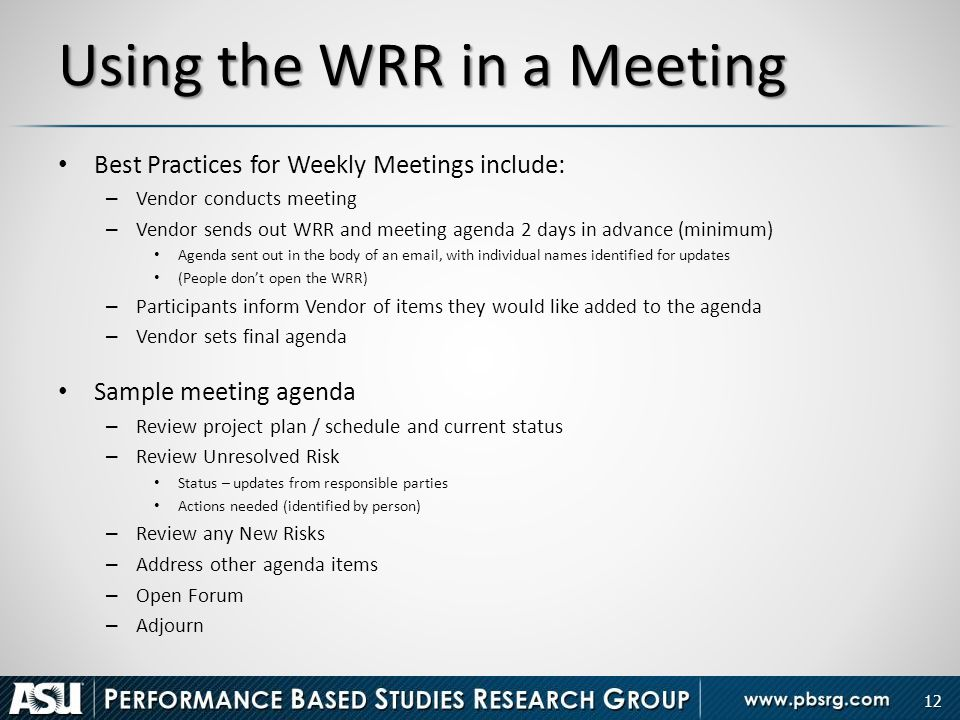 Using The WRR In A Meeting