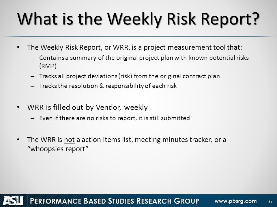 weekly risk report performance metrics ppt download