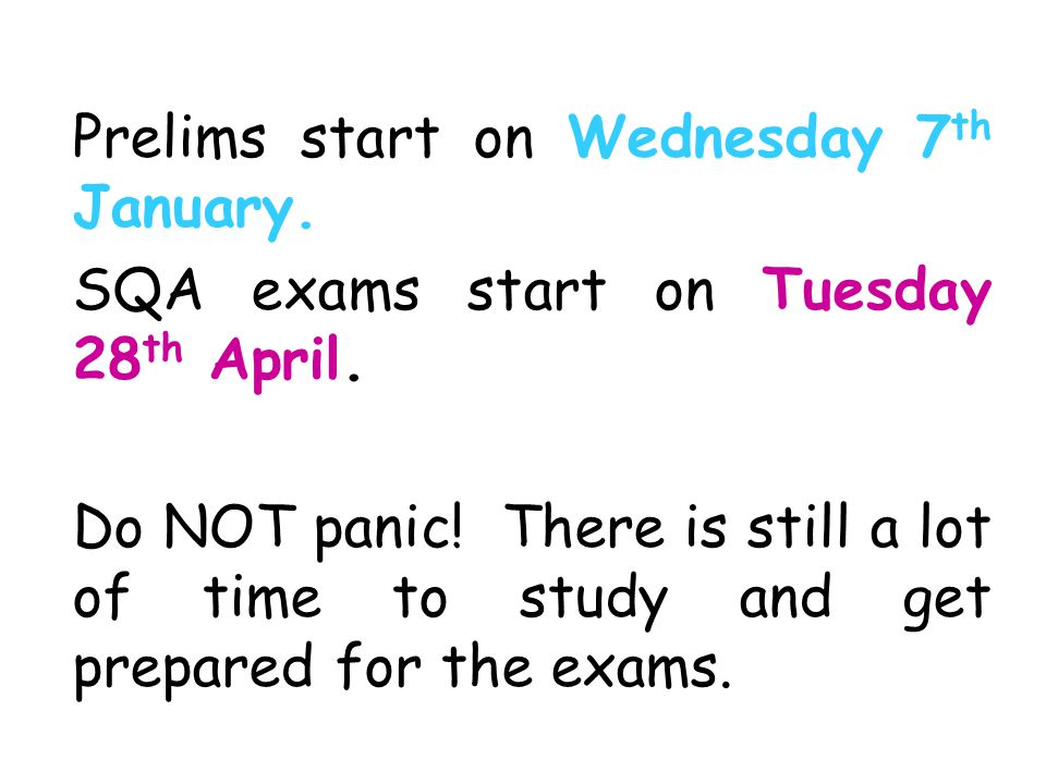 Prelims start on Wednesday 7th January.