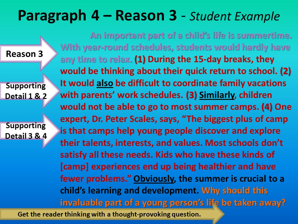 Reasons and examples paragraph.