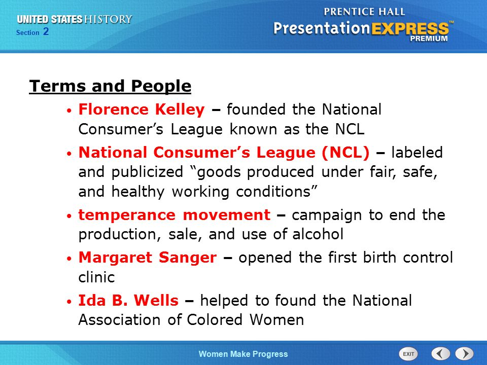 Terms and People Florence Kelley – founded the National Consumer's League known as the NCL.