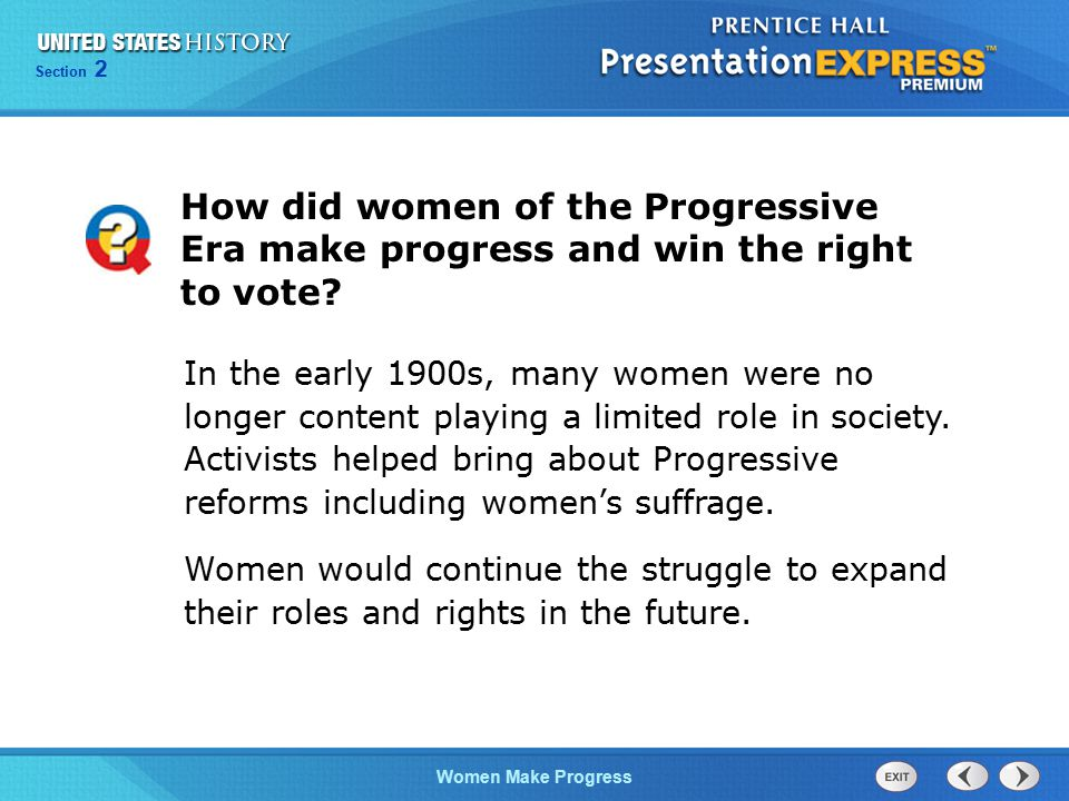How did women of the Progressive Era make progress and win the right to vote