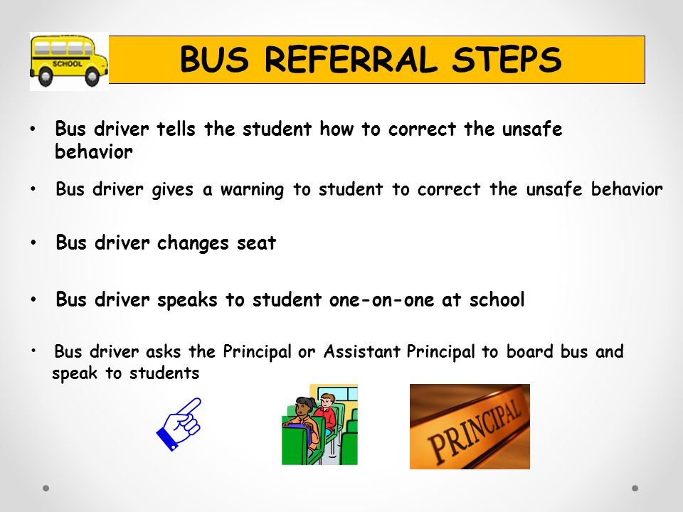 BUS REFERRAL STEPS Bus driver tells the student how to correct the unsafe behavior.