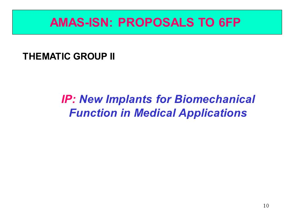 AMAS-ISN: PROPOSALS TO 6FP