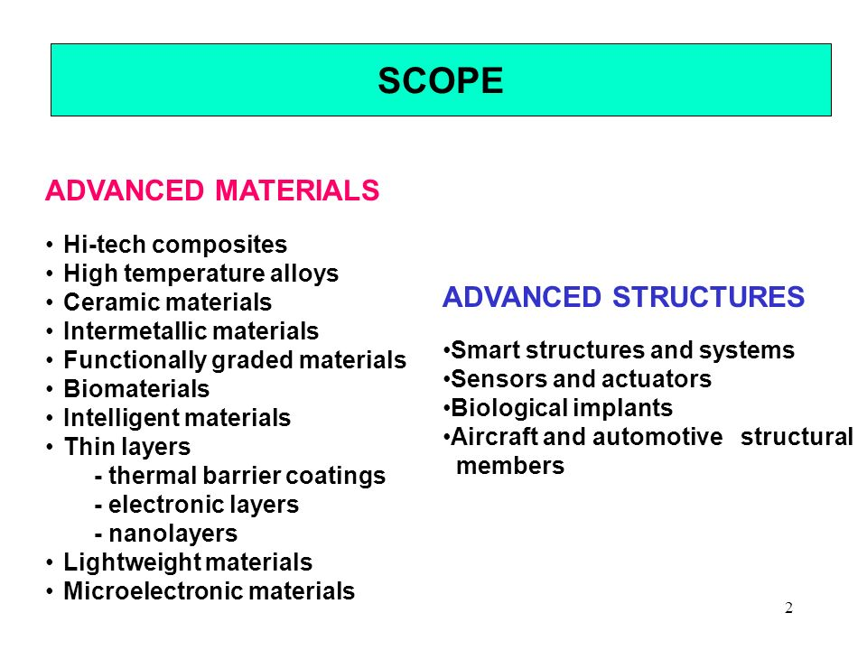 SCOPE ADVANCED MATERIALS ADVANCED STRUCTURES Hi-tech composites