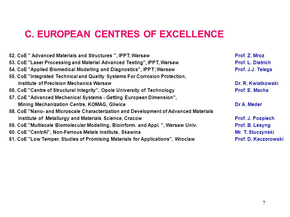 C. EUROPEAN CENTRES OF EXCELLENCE