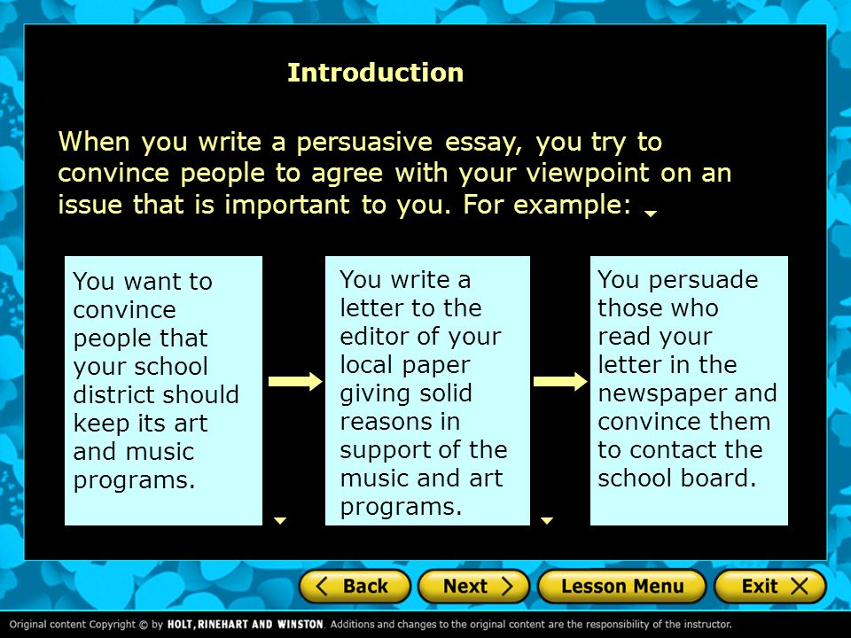 Persuasive essay introduction a writers checklist choosing an issue 4 introduction when you write spiritdancerdesigns Choice Image