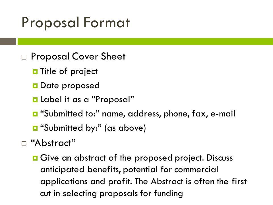 8 Proposal Format ...
