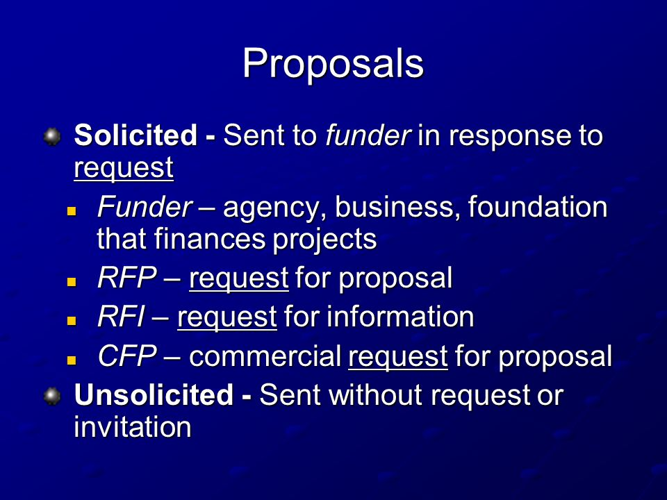 4 proposals solicited