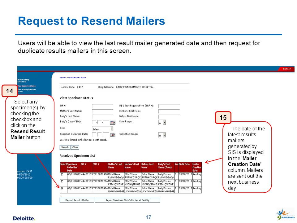 Request to Resend Mailers