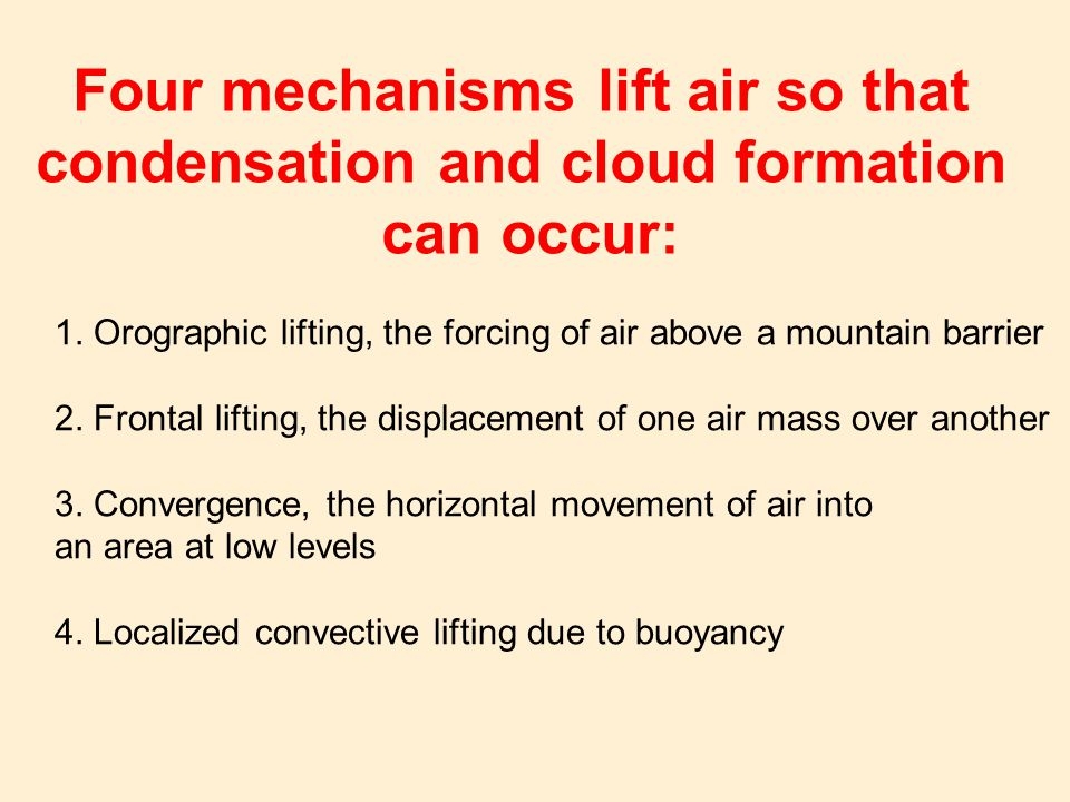 Four mechanisms lift air so that condensation and cloud formation