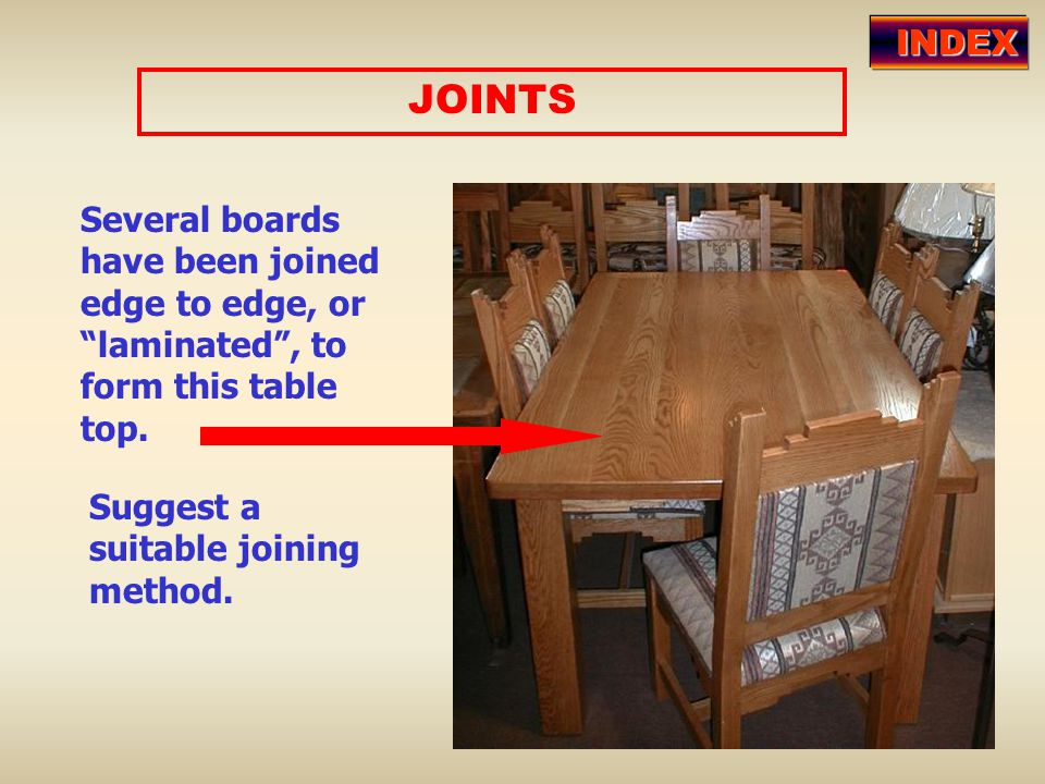INDEX JOINTS. Several boards have been joined edge to edge, or laminated , to form this table top.