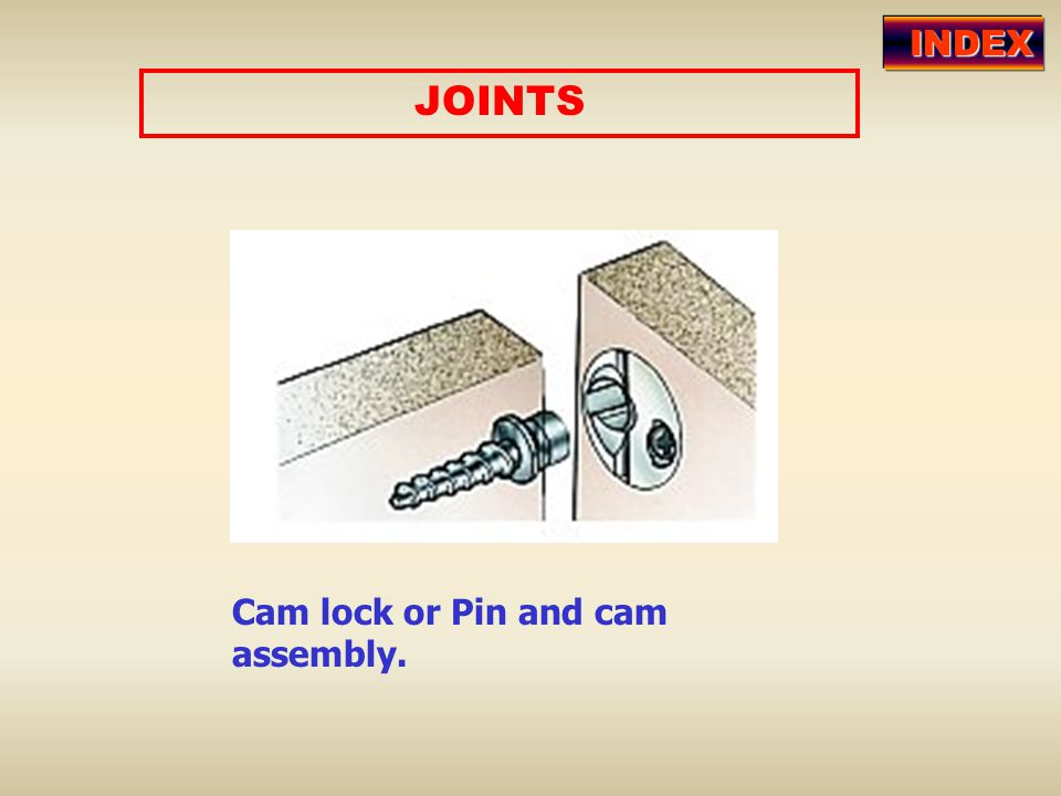 INDEX JOINTS Cam lock or Pin and cam assembly.