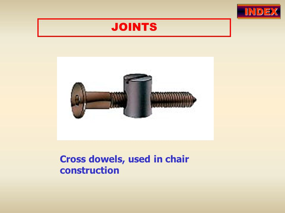 INDEX JOINTS Cross dowels, used in chair construction