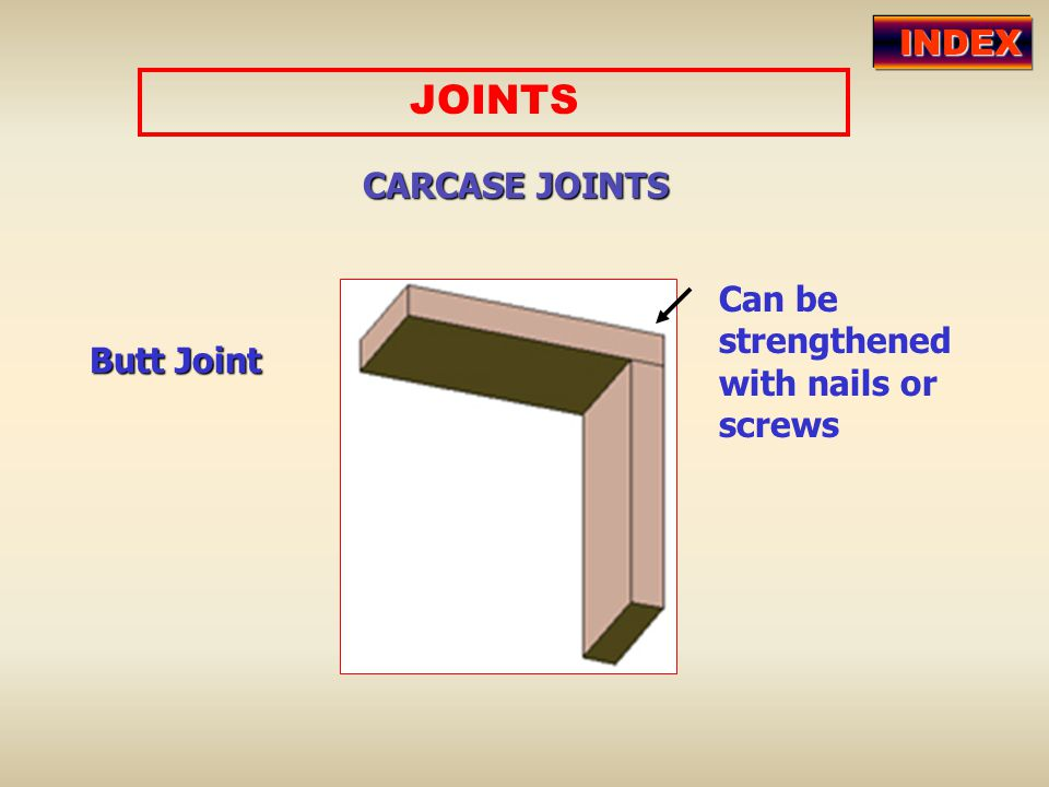 JOINTS INDEX CARCASE JOINTS Can be strengthened with nails or screws