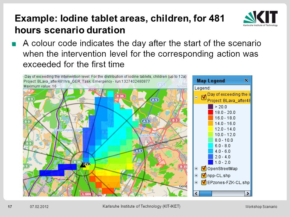 Example: Iodine tablet areas, children, for 481 hours scenario duration