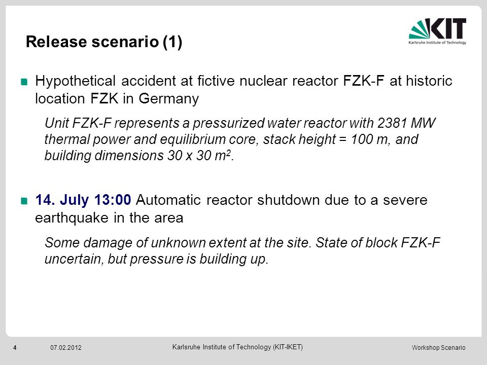 Release scenario (1) Hypothetical accident at fictive nuclear reactor FZK-F at historic location FZK in Germany.