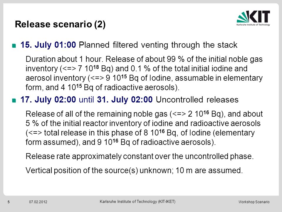 Release scenario (2) 15. July 01:00 Planned filtered venting through the stack.