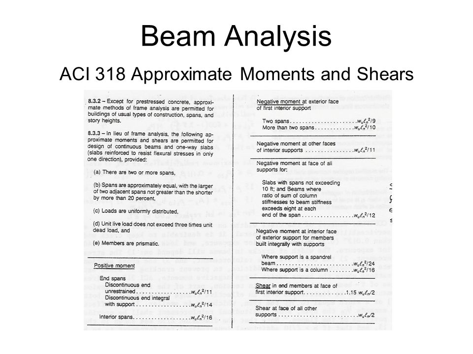 ACI 318 Approximate Moments and Shears