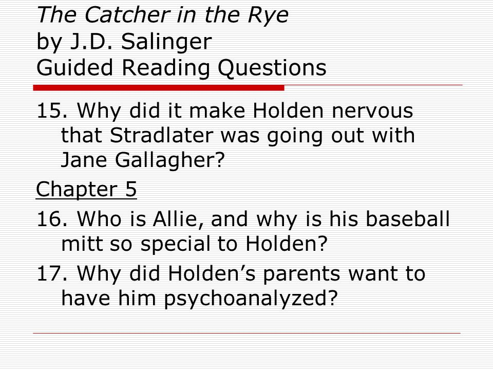 personal reaction to catcher in the rye The catcher in the rye questions and answers the question and answer section for the catcher in the rye is a great resource to ask questions, find answers, and discuss the novel.