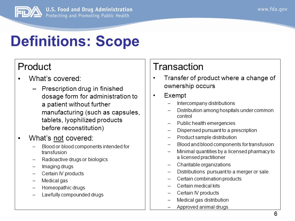 Definitions: Scope Product Transaction What's covered: