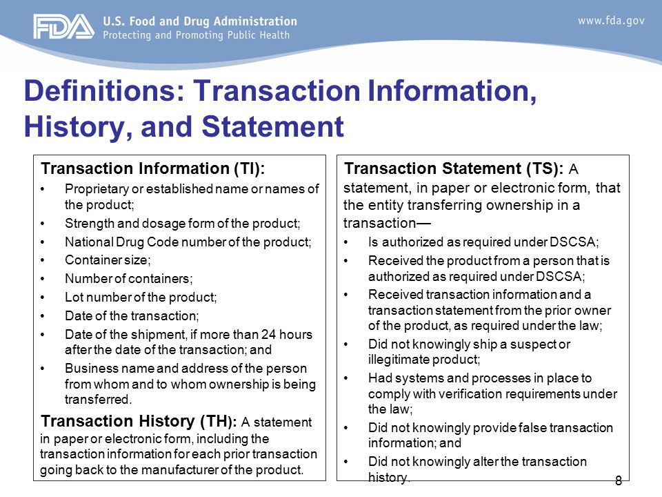 Definitions: Transaction Information, History, and Statement