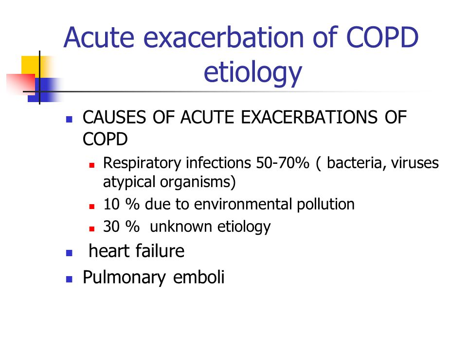 Management of acute exacerbation of COPD in hospitalized patients
