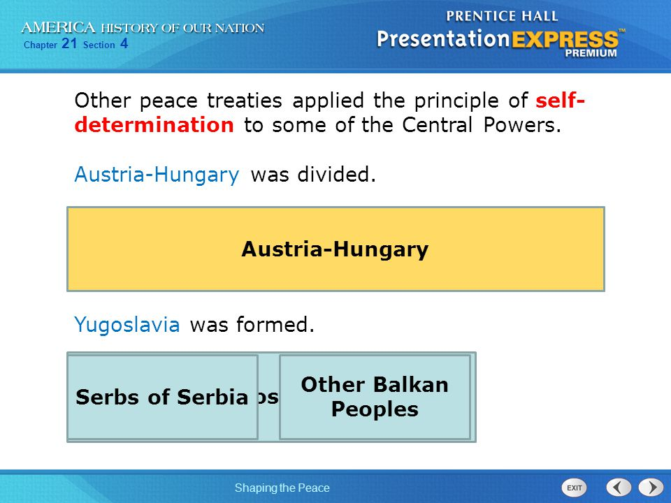 Other peace treaties applied the principle of self-determination to some of the Central Powers.