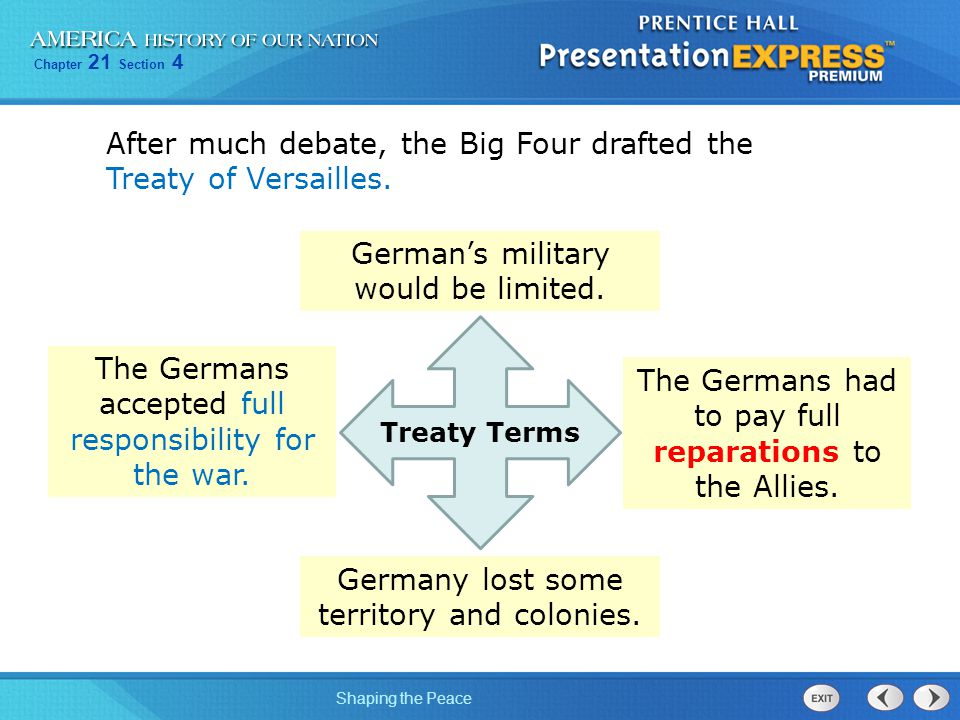 After much debate, the Big Four drafted the Treaty of Versailles.