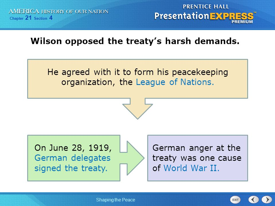 Wilson opposed the treaty's harsh demands.