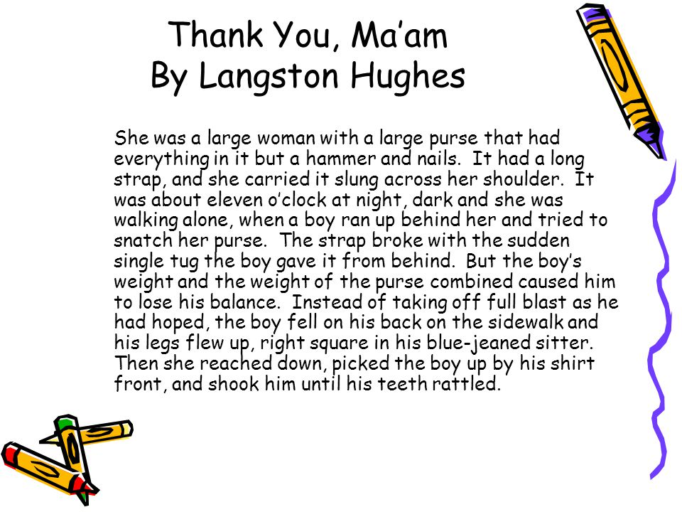 thank you m am short story
