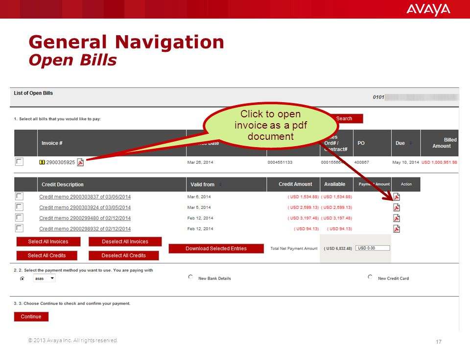 General Navigation Open Bills