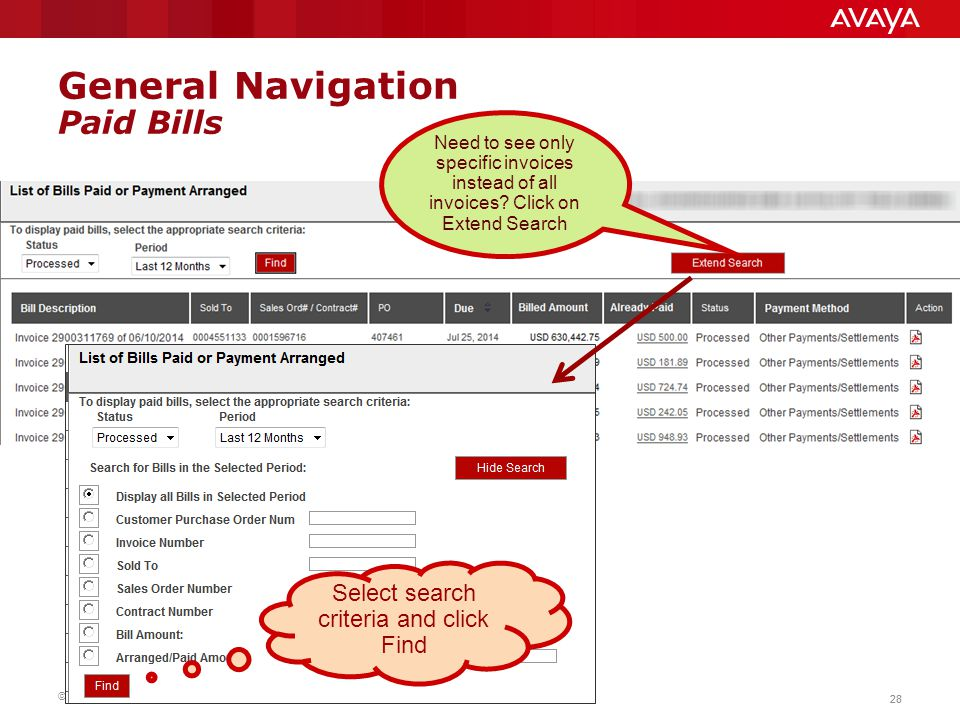 General Navigation Paid Bills
