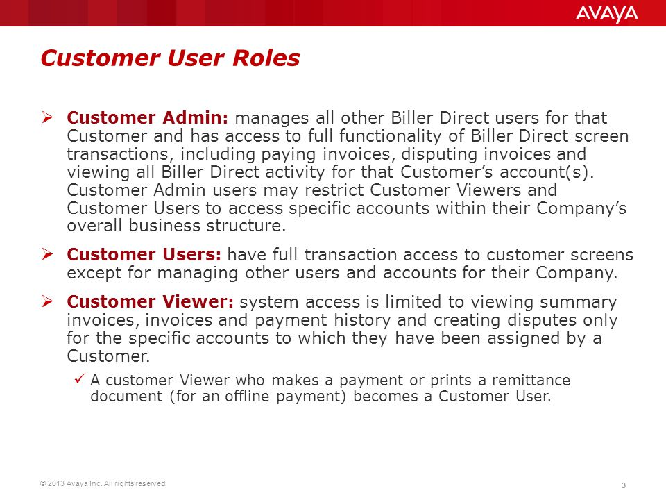 Customer User Roles