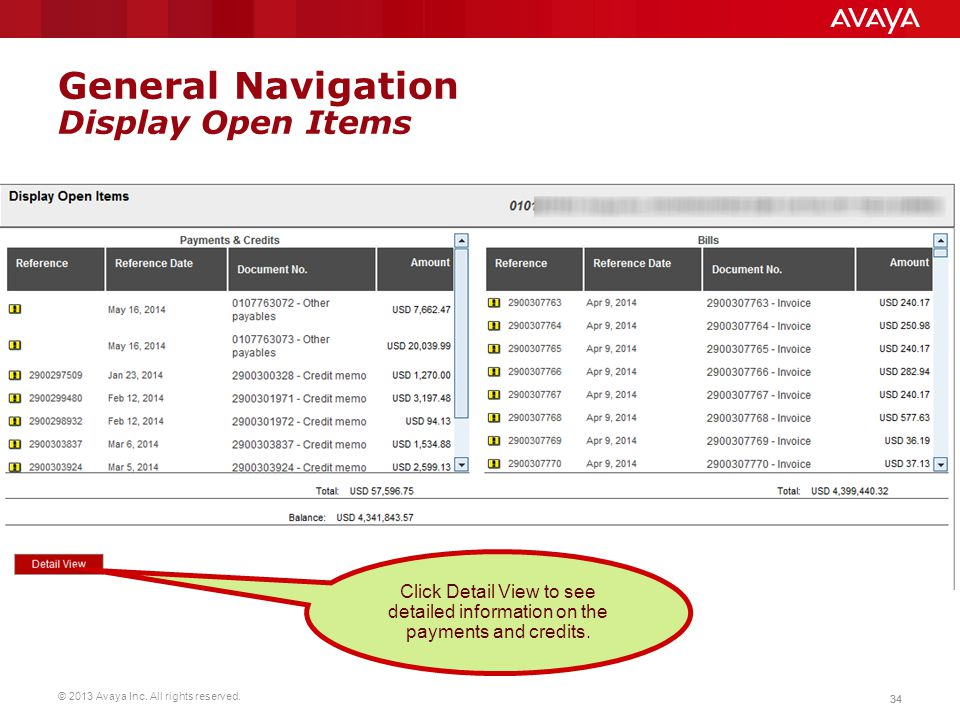 General Navigation Display Open Items