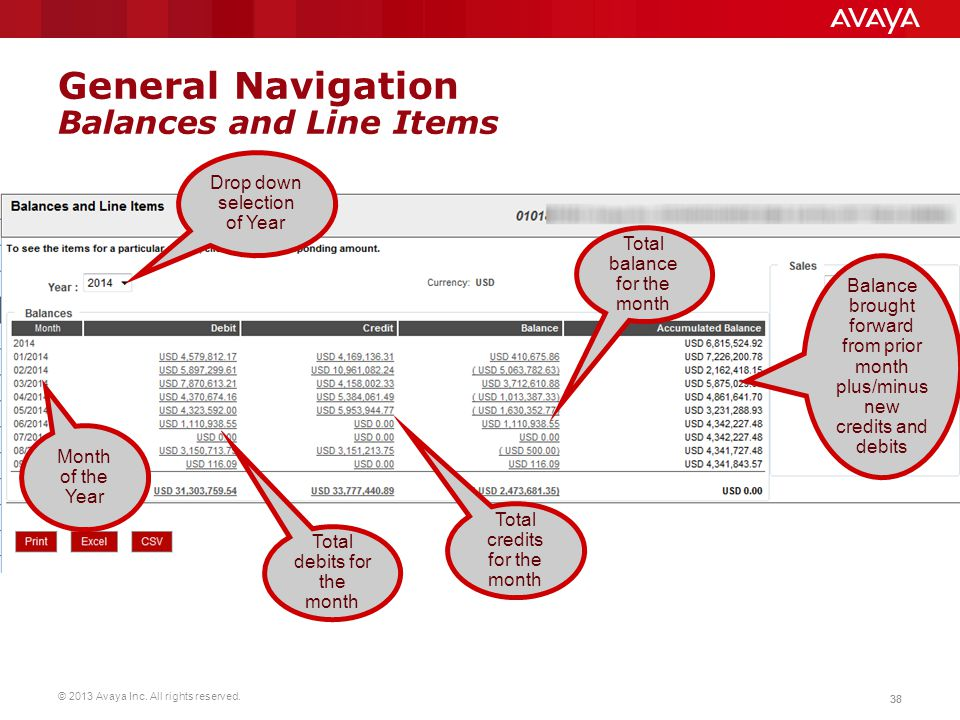 General Navigation Balances and Line Items
