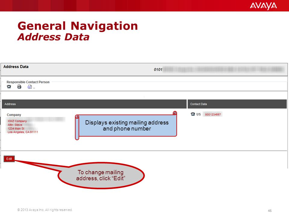 General Navigation Address Data