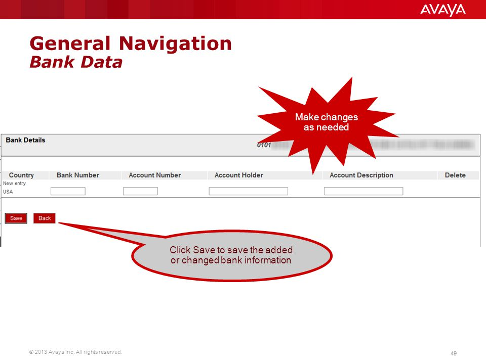 General Navigation Bank Data