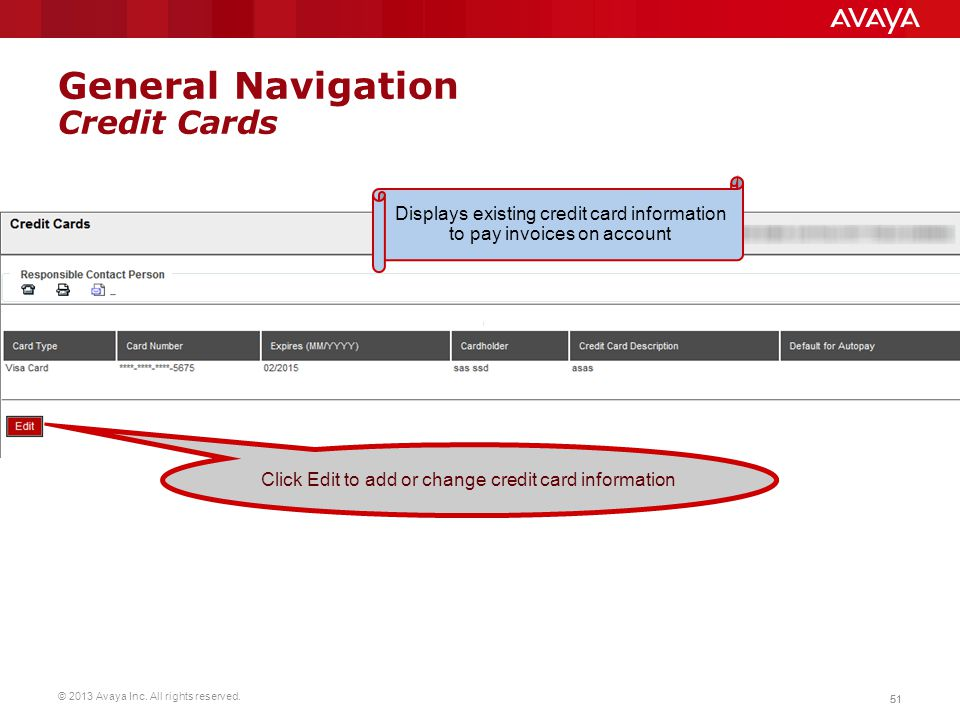 General Navigation Credit Cards