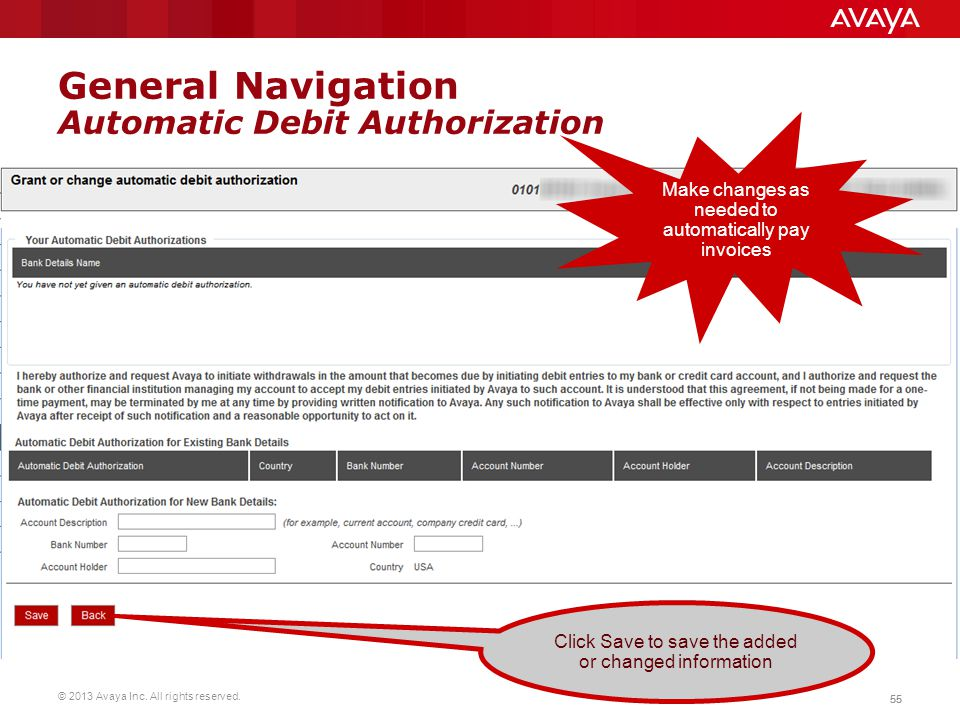 General Navigation Automatic Debit Authorization