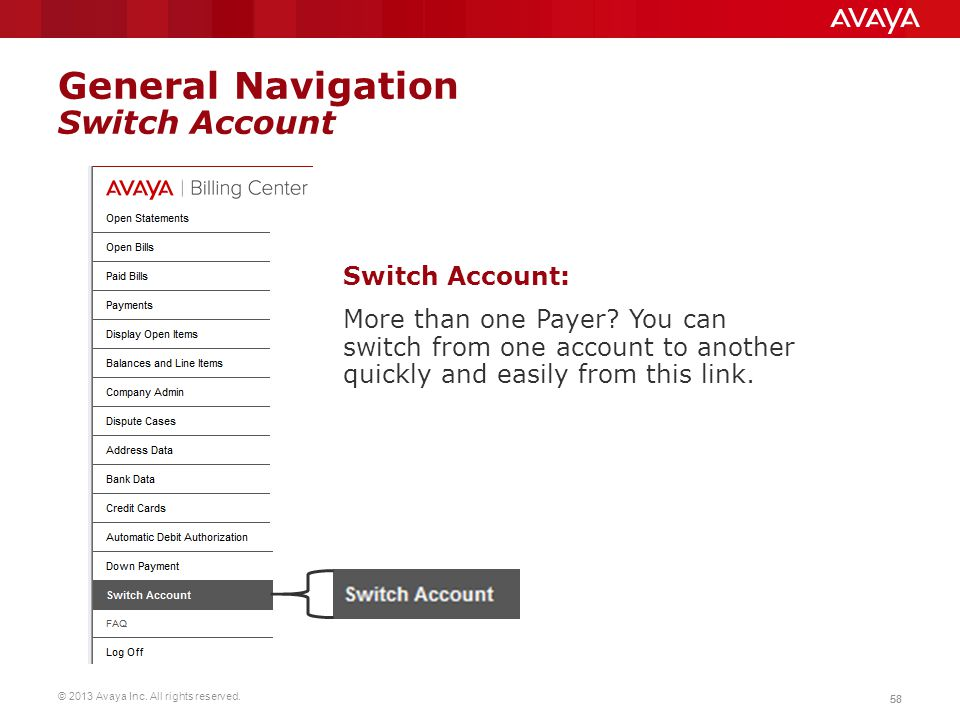 General Navigation Switch Account