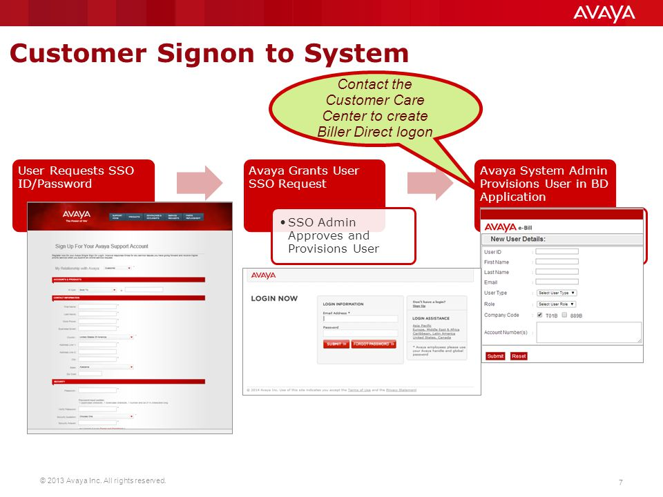 Contact the Customer Care Center to create Biller Direct logon