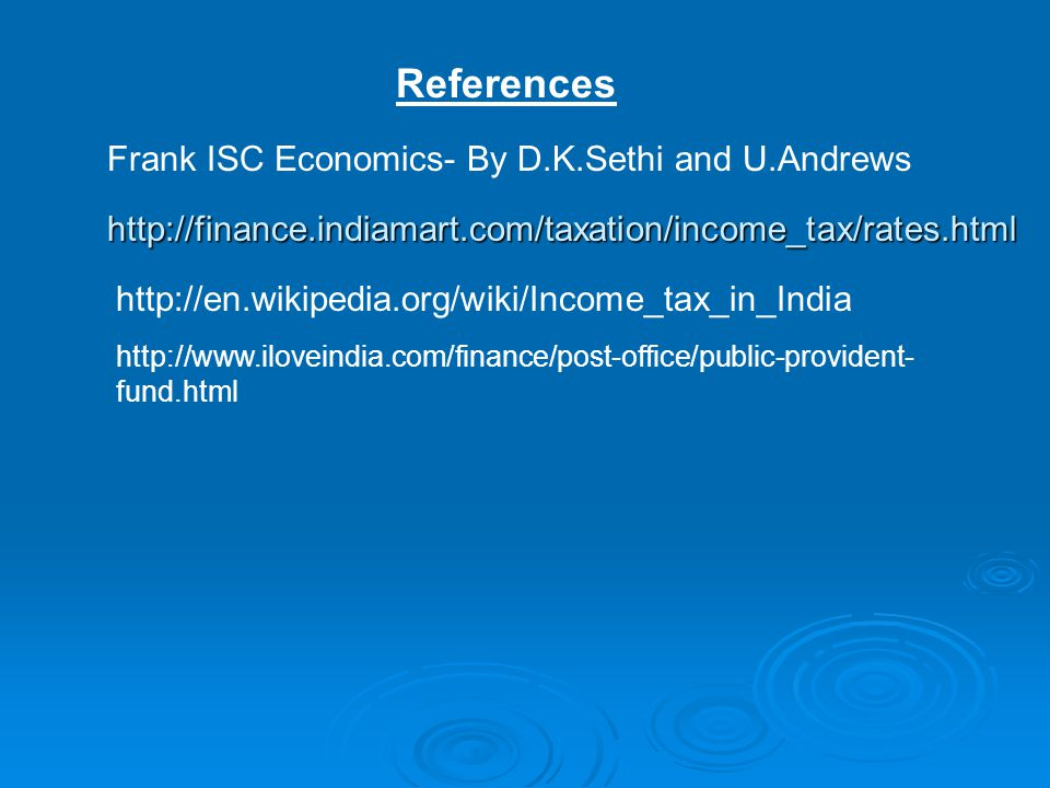 References Frank ISC Economics- By D.K.Sethi and U.Andrews
