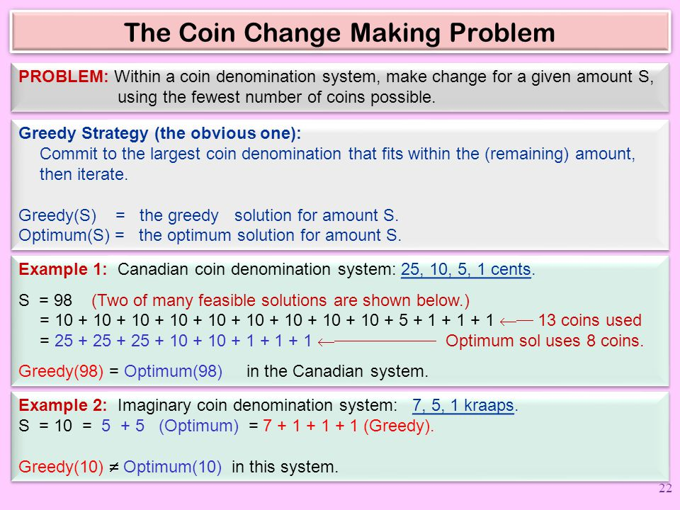 The Coin Change Making Problem