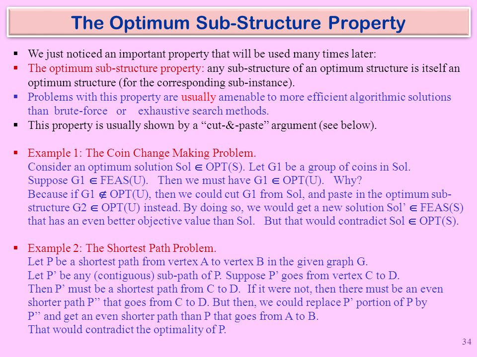 The Optimum Sub-Structure Property